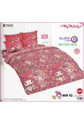 ชุดเครื่องนอนมายเมโลดี้ My Melody TOTO ผ้าปูที่นอน ผ้านวม ลิขสิทธิ์แท้โตโต้ MM42