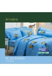ชุดเครื่องนอนลายมินเนี่ยน Minions พื้นฟ้า Jessica ผ้าปูที่นอน ผ้านวมเจสสิก้า MN008