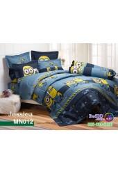 ชุดเครื่องนอนลายมินเนี่ยน Minions พื้นน้ำเงิน Jessica ผ้าปูที่นอน ผ้านวมเจสสิก้า MN012