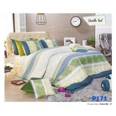 ชุดเครื่องนอนพิมพ์ลาย โทนขาวฟ้าเขียว Premier Satin ผ้าปูที่นอน ผ้านวมพรีเมียร์ ซาติน P171