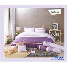 ชุดเครื่องนอนพิมพ์ลาย โทนม่วงขาว Premier Satin ผ้าปูที่นอน ผ้านวมพรีเมียร์ ซาติน P172