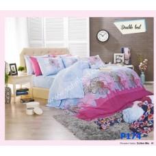 ชุดเครื่องนอนพิมพ์ลายดอก โทนฟ้าชมพู Premier Satin ผ้าปูที่นอน ผ้านวมพรีเมียร์ ซาติน P174