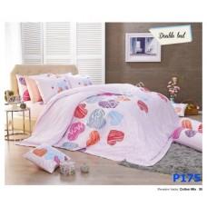 ชุดเครื่องนอนพิมพ์ลายหัวใจ พื้นชมพู Premier Satin ผ้าปูที่นอน ผ้านวมพรีเมียร์ ซาติน P175