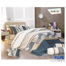 ชุดเครื่องนอนพิมพ์ลาย โทนขาวเขียว Premier Satin ผ้าปูที่นอน ผ้านวมพรีเมียร์ ซาติน P176