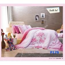 ชุดเครื่องนอนพิมพ์ลายดอกกุหลาบ โทนชมพู Premier Satin ผ้าปูที่นอน ผ้านวมพรีเมียร์ ซาติน P179