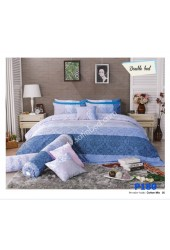 ชุดเครื่องนอนพิมพ์ลายดอก โทนขาวฟ้า Premier Satin ผ้าปูที่นอน ผ้านวมพรีเมียร์ ซาติน P180