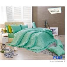 ชุดเครื่องนอนพิมพ์ลาย โทนเขียว Premier Satin ผ้าปูที่นอน ผ้านวมพรีเมียร์ ซาติน P182