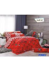 ชุดเครื่องนอนพิมพ์ลายรูปรถ โทนแดง Premier Satin ผ้าปูที่นอน ผ้านวมพรีเมียร์ ซาติน PJ001