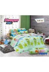 ชุดเครื่องนอนลาย Powerpuff Girls PK074 Premier Satin ผ้าปูที่นอน ผ้านวมพรีเมียร์ ซาติน