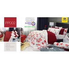 ชุดเครื่องนอนลายดอก พื้นสีขาว PP002 Satin Plus ผ้าปูที่นอน ผ้านวมซาตินพลัส