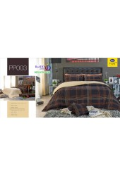 ชุดเครื่องนอนลายตาราง พื้นสีน้ำตาล PP003 Satin Plus ผ้าปูที่นอน ผ้านวมซาตินพลัส