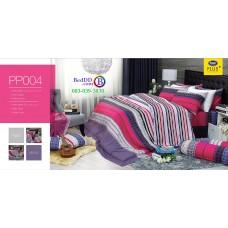 ชุดเครื่องนอนลายตาราง พื้นสีชมพู PP004 Satin Plus ผ้าปูที่นอน ผ้านวมซาตินพลัส