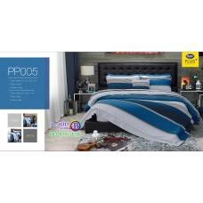 ชุดเครื่องนอนลายตาราง พื้นสีน้ำเงิน PP005 Satin Plus ผ้าปูที่นอน ผ้านวมซาตินพลัส