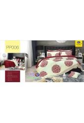 ชุดเครื่องนอนลากราฟฟิค พื้นสีครีม แดง PP006 Satin Plus ผ้าปูที่นอน ผ้านวมซาตินพลัส
