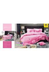 ชุดเครื่องนอนลายดอกกุหลาบ พื้นสีชมพู PP007 Satin Plus ผ้าปูที่นอน ผ้านวมซาตินพลัส