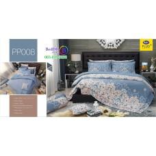 ชุดเครื่องนอนลายกราฟฟิค พื้นสีเทา PP008 Satin Plus ผ้าปูที่นอน ผ้านวมซาตินพลัส