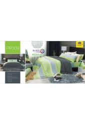 ชุดเครื่องนอนลายดอก พื้นสีเขียว PP009 Satin Plus ผ้าปูที่นอน ผ้านวมซาตินพลัส