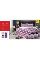 ชุดเครื่องนอนลายตาราง พื้นสีขาว แดง PP010 Satin Plus ผ้าปูที่นอน ผ้านวมซาตินพลัส