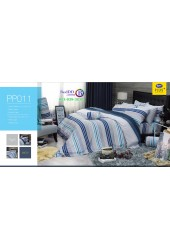 ชุดเครื่องนอนลายตาราง พื้นสีเทา PP011 Satin Plus ผ้าปูที่นอน ผ้านวมซาตินพลัส