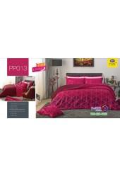 ชุดเครื่องนอนลายกราฟฟิค พื้นสีชมพูบานเย็น PP013 Satin Plus ผ้าปูที่นอน ผ้านวมซาตินพลัส