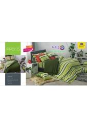ชุดเครื่องนอนลายตาราง พื้นสีเขียว PP015 Satin Plus ผ้าปูที่นอน ผ้านวมซาตินพลัส