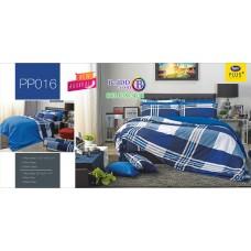 ชุดเครื่องนอนลายตาราง พื้นสีน้ำเงิน PP016 Satin Plus ผ้าปูที่นอน ผ้านวมซาตินพลัส