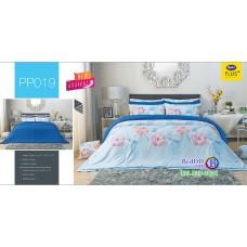 ชุดเครื่องนอนลายดอก พื้นสีฟ้า PP019 Satin Plus ผ้าปูที่นอน ผ้านวมซาตินพลัส
