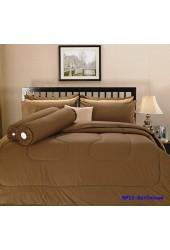 ชุดเครื่องนอนสีพื้น สีช็อกโกแลตPremier Satin ผ้าปูที่นอน ผ้านวมพรีเมียร์ ซาติน SP11