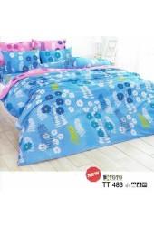 ชุดเครื่องนอนลายดอกไม้  โทนสีฟ้า TOTO ผ้าปูที่นอน ผ้านวมโตโต้ TT483 ฟ้า