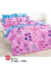 ชุดเครื่องนอนลายดอกไม้  โทนสีชมพู  TOTO ผ้าปูที่นอน ผ้านวมโตโต้ TT483  ชมพู