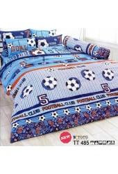 ชุดเครื่องนอนลายฟุตบอล ทีมฟุตบอล โทนสีน้ำเงิน ฟ้า FOOTBALL CLUB TOTO ผ้าปูที่นอน ผ้านวมโตโต้ TT485