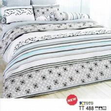 ชุดเครื่องนอนลายดอก โทนสีน้ำตาล TOTO ผ้าปูที่นอน ผ้านวมโตโต้ TT488