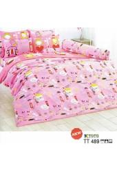 ชุดเครื่องนอนลายการ์ตูนเด็กผู้หญิงน่ารัก โทนสีชมพู TOTO ผ้าปูที่นอน ผ้านวมโตโต้ TT489