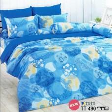 ชุดเครื่องนอนลายดอกไม้ โทนสีฟ้า น้ำเงิน  TOTO ผ้าปูที่นอน ผ้านวมโตโต้ TT490