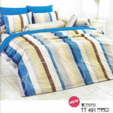 ชุดเครื่องนอนลายทาง โทนสีน้ำเงิน เหลือง น้ำตาล TOTO ผ้าปูที่นอน ผ้านวมโตโต้ TT491