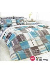 ชุดเครื่องนอนลายตาราง โทนสีน้ำตาล ฟ้า ขาว TOTO ผ้าปูที่นอน ผ้านวมโตโต้ TT492