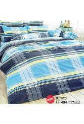 ชุดเครื่องนอนลายตารางใหญ่ โทนสีฟ้า น้ำเงิน เหลือง TOTO ผ้าปูที่นอน ผ้านวมโตโต้ TT349