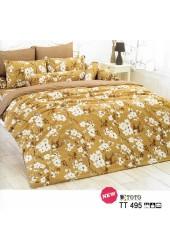 ชุดเครื่องนอนลายดอกซากุระ พื้นสีน้ำตาล TOTO ผ้าปูที่นอน ผ้านวมโตโต้ TT495