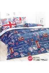 ชุดเครื่องนอนลายอังกฤษ ลอนดอน ธงชาติอังกฤษ หอนาฬิกาบิ๊กแบน Queen's guard ทหารราชวัง  พื้นสีน้ำเงิน TOTO ผ้าปูที่นอน ผ้านวมโตโต้ TT496
