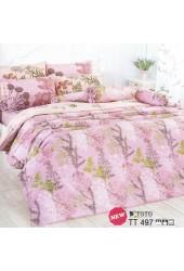 ชุดเครื่องนอนลายดอกไม้ พื้นสีชมพู TOTO ผ้าปูที่นอน ผ้านวมโตโต้ TT497