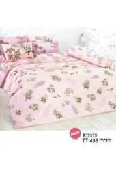 ชุดเครื่องนอนลายดอกไม้ พื้นสีโอรส TOTO ผ้าปูที่นอน ผ้านวมโตโต้ TT498