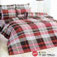 ชุดเครื่องนอนลายตารางแดงเทาดำ สก๊อต TOTO ผ้าปูที่นอน ผ้านวมโตโต้ TT501