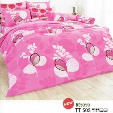 ชุดเครื่องนอนลายดอกไม้ใหญ่ พื้นสีชมพู TOTO ผ้าปูที่นอน ผ้านวมโตโต้ TT503