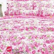 ชุดเครื่องนอนลายดอกกุหลาบชมพู พื้นสีขาว TOTO ผ้าปูที่นอน ผ้านวมโตโต้ TT504