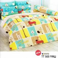 ชุดเครื่องนอนลายการ์ตูนรูปสัตว์ โทนเขียว เหลือง น้ำตาล TOTO ผ้าปูที่นอน ผ้านวมโตโต้ TT505