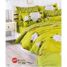 ชุดเครื่องนอนลายดอกกุหลาบใหญ่ พื้นสีเขียว TOTO ผ้าปูที่นอน ผ้านวมโตโต้ TT506