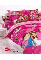 ชุดเครื่องนอนลายคู่แต่งงาน โทนสีช็อคกิ้งพิ้ง shocking pink TOTO ผ้าปูที่นอน ผ้านวมโตโต้ TT508