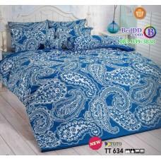 ชุดเครื่องนอนลายกราฟฟิค พื้นสีฟ้า TOTO ผ้าปูที่นอน ผ้านวมโตโต้ TT634