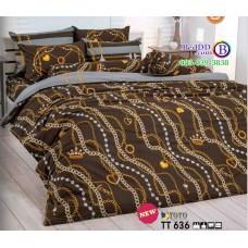 ชุดเครื่องนอนลายโซ่ พื้นสีน้ำตาล TOTO ผ้าปูที่นอน ผ้านวมโตโต้ TT636