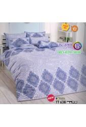 ชุดเครื่องนอนลายกราฟฟิคลายไทย พื้นสีฟ้า ขาว TOTO ผ้าปูที่นอน ผ้านวมโตโต้ TT638